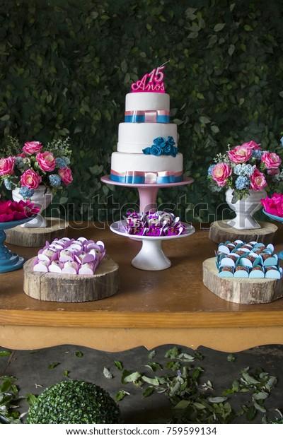 Sensational Party Decoration Candies Flowers Birthday Cake Stock Photo Edit Funny Birthday Cards Online Inifodamsfinfo