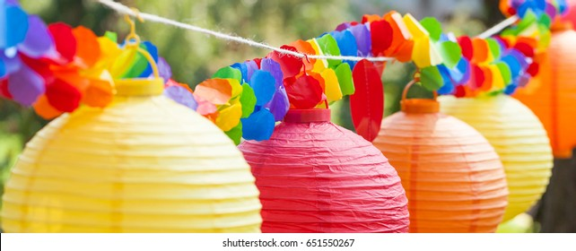 Party decoration made of Chinese lanterns