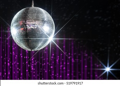 Party disco ball with stars in nightclub with striped violet and black walls lit by spotlight, nightlife entertainment industry