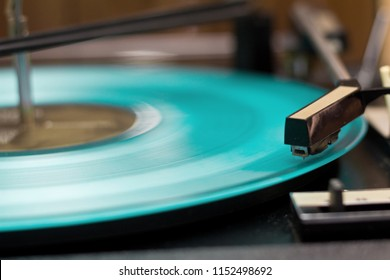 Party dj turn table vinyl record player.Audio equipment for club party. Retro audio setup for disc jockey to play music