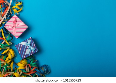 Party festive background with confetti. Copy space