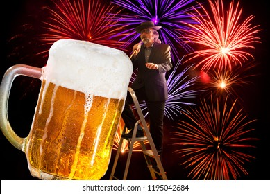Party with fireworks. Man drinking of large beer.