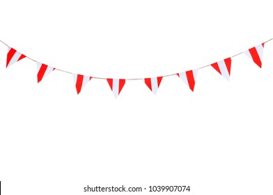 Party flags red and white stripe on white background.