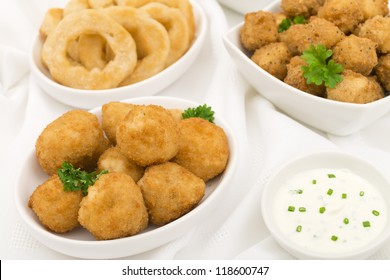 Party Food - Breaded mushrooms, popcorn chicken, onion rings served with sour cream and chives dip.