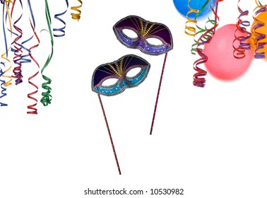 party frame ,mask balloons and confetti isolated on white background