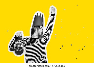 Party girl in colorful spotlights and confetti smile on white background celebrate brightful event, wears stripped dress and red crown. Sparkling confetti, having fun, dancing, laugh, disco ball.