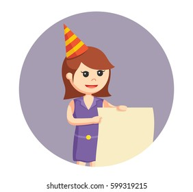 party girl with empty sheet in circle background