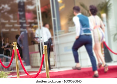 Party  guests to the red carpet