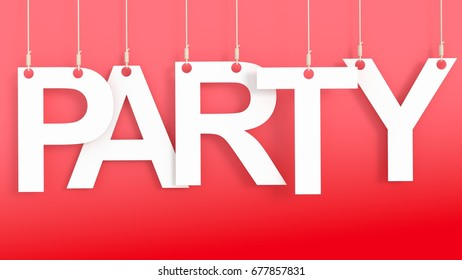 Party hanging letters over red background 3D rendering