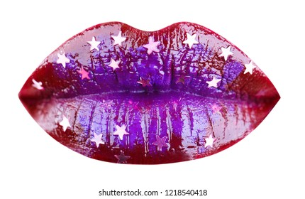 Party lips, beautiful makeup, sensual mouth, sexy lip. Blue Lipstick or lipgloss, beautiful lip, bright lipstick. Close up, macro with beautiful mouth,sensual makeup, portrait, isolated blue lips.
