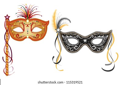 Party masquerade masks - set of two, gold and silver. Isolated over white background.
