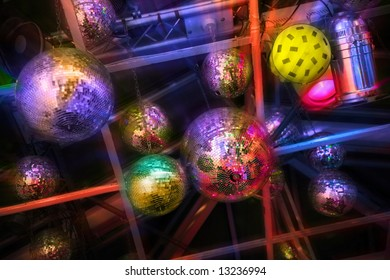 party. nightlife. mirrorballs in  discotheque with lighting effects