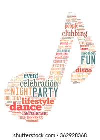 Party note, word cloud concept on white background.