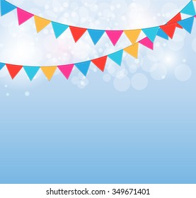 Party on Blue Background with Flags Illustration.