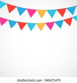 Party on White Background with Flags Illustration.