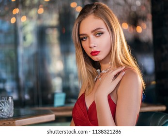 party photo of elegance sexy lady in red dress
