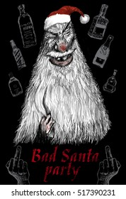 Party poster with Bad Santa. Original pencil or drawing charcoal, and hand drawn painting or working sketch of vile ugly face of Santa. Merry christmas and Happy new year