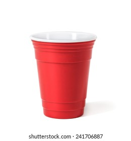 Party red cup. Isolated on white background.