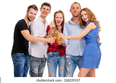 Party and relax. Group of five happy smiling friends with bottles of beer having fun together. Isolated on white.