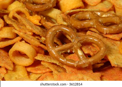 party snack with pretzel, rings and cornchips
