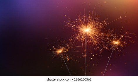 Party sparklers banner. Bengal fire burning with sparks and magic glitter glow.