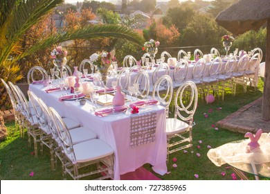 Party tables and chairs seating with pink decorations for bridal or baby shower outdoors