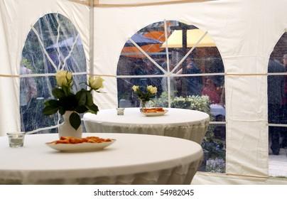 party tent in garden