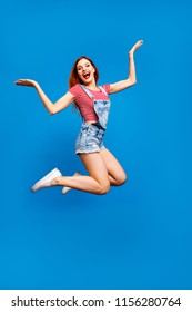 It party time! Emotion people person looking at camera concept. Vertical full body length size photo portrait of cheerful joyful pretty cool lady jumping up isolated bright color pastel background
