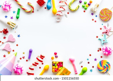party time frame with decorations on white background top view mock up