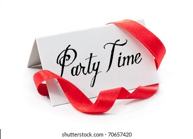 Party time, handwritten label, isolated in white