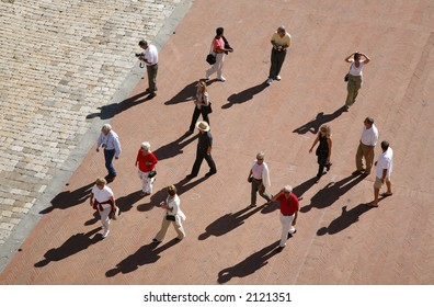 Party of tourists seen from above - Montepulciano - Tuscany - Italy. EDITORIAL