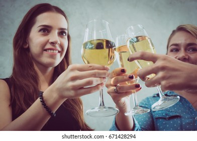 Party with wineglass in holiday