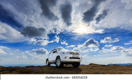 PARUNTHUMPARA, KERALA, INDIA - MARCH 10, 2017: Private Toyota Fortuner on top of the Hill at Parunthumpara, KERALA, INDIA.