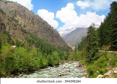 Parvati River near the village of Kasol in Parvati Valley, Himachal, India