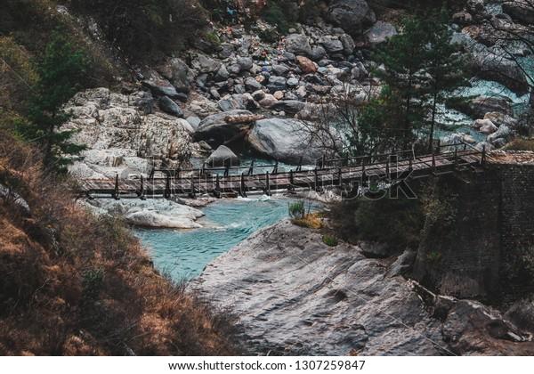 the parvati river in upper Himalayan Region of kasol himachal pradesh, India