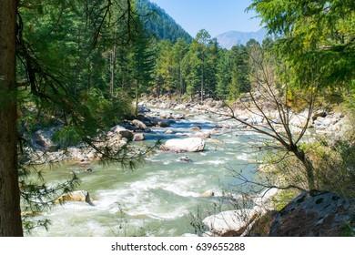 Parvati river valley at Kasol, Himachal Pradesh, India.