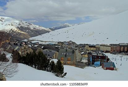Pas de la Casa, Andorra - April 20, 2018: view of Pas de la casa, Andorra