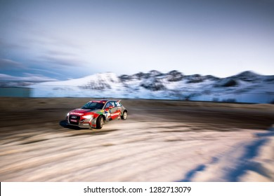 PAS DE LA CASA, ANDORRA - DEC 22: French driver Bertrand Balas in an Audi A1 Quattro race in the Trophee Andros, on Dec 22, 2018 in Andorra.