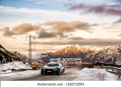 PAS DE LA CASA, ANDORRA - DEC 22: French driver Joel Lopez in a BMW M2 race in the Trophee Andros, on Dec 22, 2018 in Andorra.