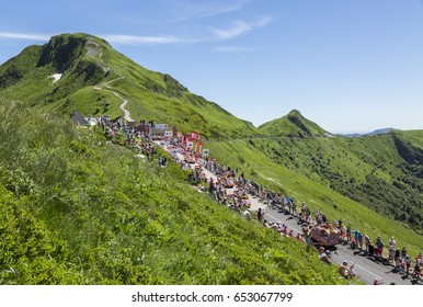 PAS DE PEYROL, FRANCE- JUL 6: Cochonou Caravan during the passing of the Publicity Caravan on the road to Pas de Pyerol in the Central Massif, during the stage 5 of Tour de France on July 6, 2016.