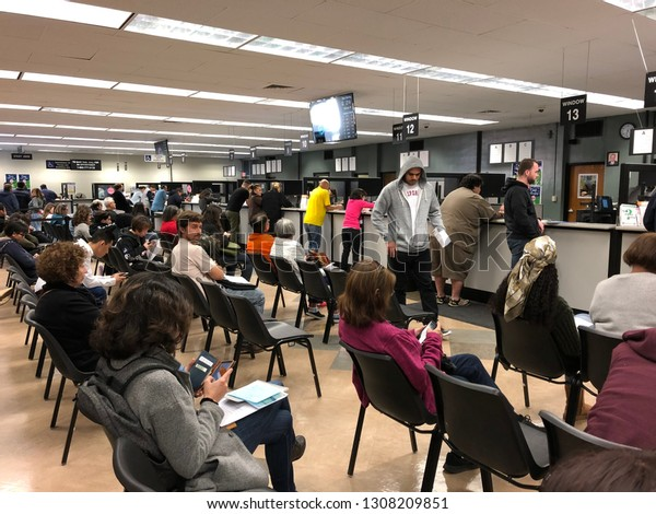 Pasadena, CA: February 8, 2019:  A California Department of Motor Vehicles (DMV) office in California. The California Department of Motor Vehicles is the agency in charge of driver's licenses and IDs.