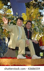 Pasadena, CA- January 1: Actor Jackie Chan (left), participates at the 121st Tournament of The Rose's Parade at the City of Pasadena, California, January 1, 2010 in Pasadena, CA.