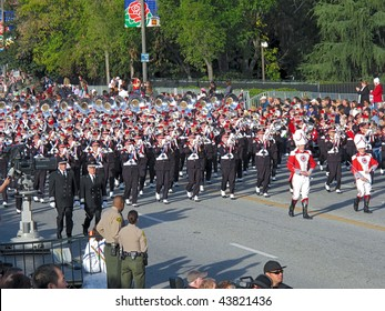 PASADENA, CA - JANUARY 1: Ohio State University's Marching Band preforming in the 121st Tournament of Roses Parade on January 1, 2010 in Pasadena, California.