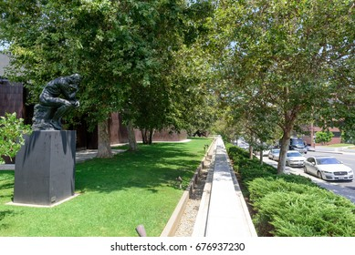 PASADENA, CA -  JULY 8, 2017: The Thinker of Auguste Rodin in the Norton Simon Museum on July 8, 2017 in Pasadena, CA - USA