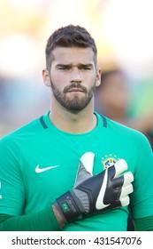 PASADENA, CA - JUNE 4: Alisson during the COPA America game between Brazil & Ecuador on June 4th 2016 at the Rose Bowl in Pasadena, Ca.