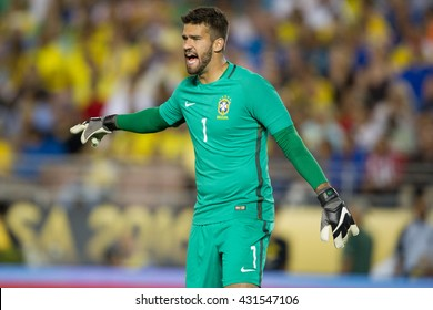 PASADENA, CA - JUNE 4: Alisson during the COPA America game between Brazil & Ecuador on June 4th 2016 at the Rose Bowl in Pasadena, Ca.