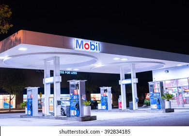 Pasadena, CA -  March 11, 2016: A view of a Mobil gas station in Pasadena, CA.  Mobil is a major oil company that is based in the United States.