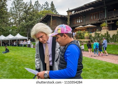 """Pasadena, CA: May 20, 2018: Back to the Future fans at the Gamble House in Pasadena.  The Gamble House was the home of Dr. Emmett Brown in the cult favorite film """"Back to the Future."""""""