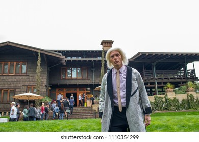 "Pasadena, CA: May 20, 2018: Back to the Future fans at the Gamble House in Pasadena.  The Gamble House was the home of Dr. Emmett Brown in the cult favorite film ""Back to the Future."""