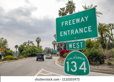 Pasadena, CA: May 20, 2018:  Freeway Entrance to the West 134 in Pasadena.
